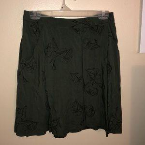 Green floral skirt
